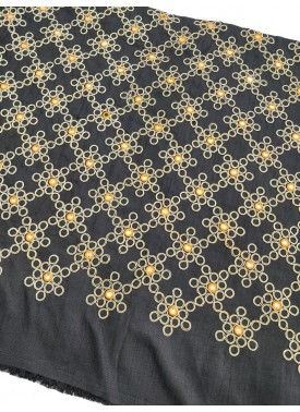 Black Raw Silk Fabric in Gold Embroidery and Mirror Work Per Meter