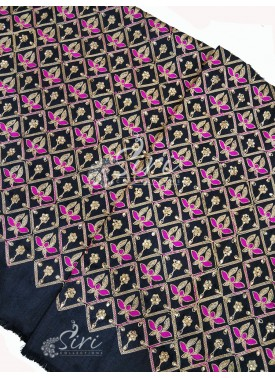 Black Raw Silk Fabric in Gold Magenta Pink Embroidery and Stone Work Per Meter