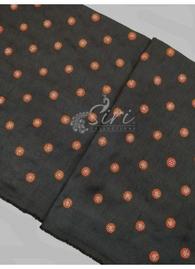 Black Raw Silk Fabric in Multi Colour Embroidery a