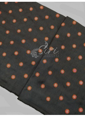 Black Raw Silk Fabric in Multi Colour Embroidery and Stone Work Per Meter