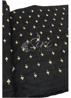 Black Raw Silk Fabric in Sequins and Embroidery Wo