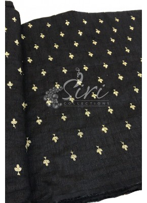 Black Raw Silk Fabric in Sequins and Embroidery Work Butis