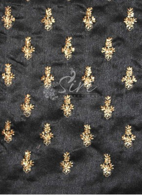 Black Raw Silk Fabric in Sequins and Embroidery Work Motifs by Meter