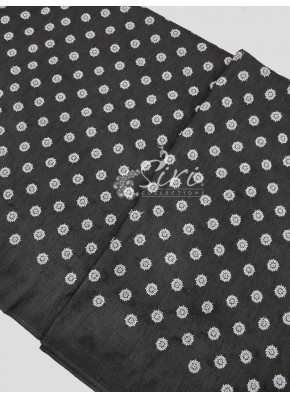 Black Raw Silk Fabric in Silver Sequins and Embroidery Work Butis Per Meter