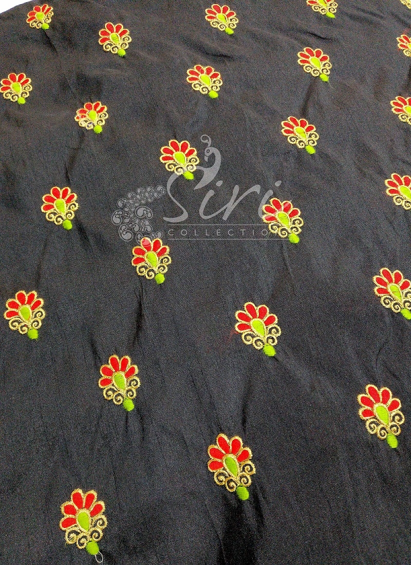 Black Raw Silk Fabric in Red Green Gold Embroidery Work Butis by Meter