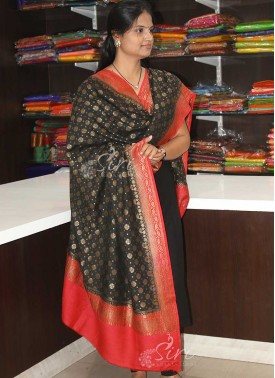 Black Red Antique Zari Pure Munga Silk Dupatta