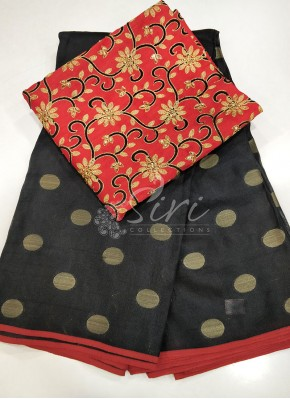 Black Red Jute Silk Saree in Self Polka Dots Weave