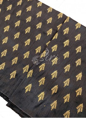 Black Silk Fabric in Zari Embroidery and Sequins Butis Per Meter