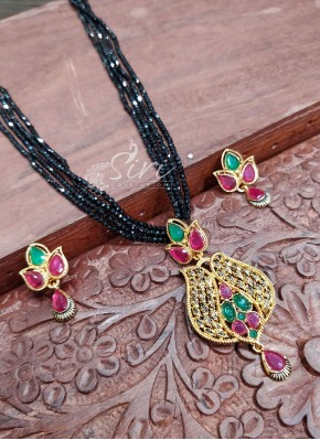 Black Spinels Mangalsutra in Micro Polish kemp Stone Pendant Set