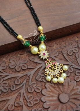 Black Spinels Mangalsutra in Peacocks Design