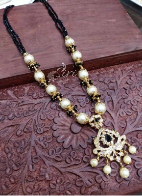 Black Spinels South Sea Pearls Designer CZ Pendant Necklace