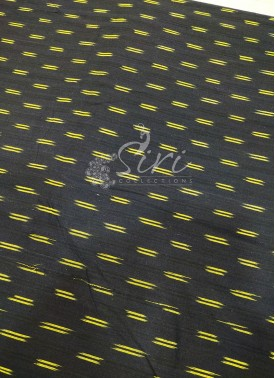 Black Yellow Ikat Cotton Fabric Per Meter