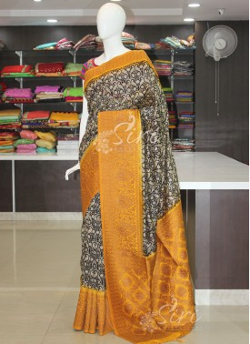 Black Yellow Printed Fancy Banarasi Dupion Silk Saree