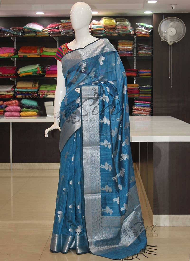 Blue Banarasi Fancy Cotton Linen Saree in Silver Zari