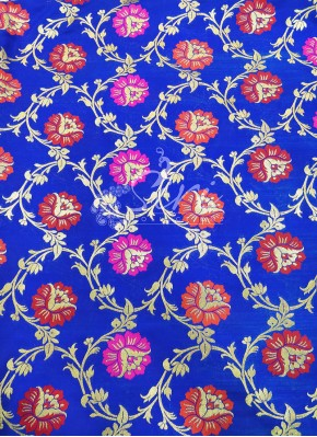 Blue Banarasi Silk Fabric in Multi Meena Jaal Per Meter