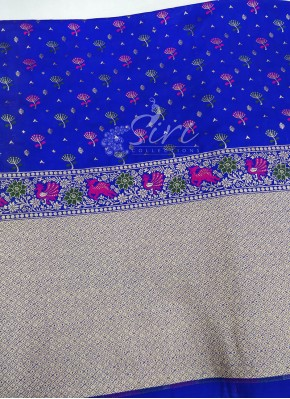 Blue Banarasi Silk Fabric in one side Border Design Per Meter