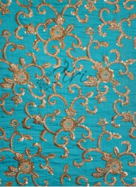 Blue Banarasi Silk Fabric in Sequins and Embroidery Work by Meter
