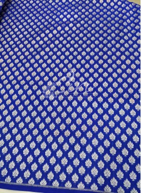 Blue Banarasi Silk Fabric in Silver Zari Butis Per