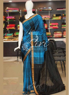 Blue Black Checks Pattu Silk Saree