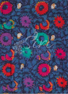 Blue Black multi colour Printed Cotton Fabric By Meter