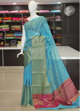 Blue Chanderi Cotton Silk Saree in Rich Contrast Pallu Blouse