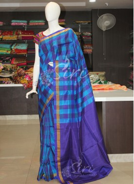 Blue Checks Pattu Silk Saree