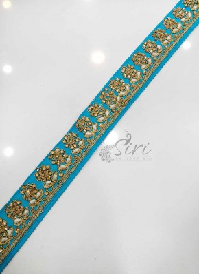 Blue Cording Stone Work Lace Border