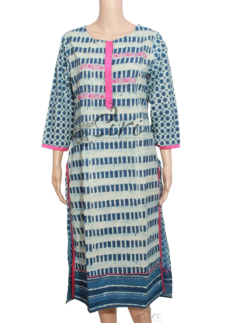 Blue Cotton Kurti With Embroidery Work