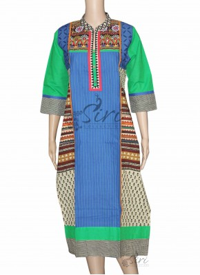 Blue Cotton Kurti with Gujri Work
