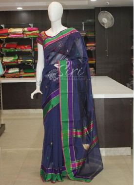 Blue Cotton Silk Saree