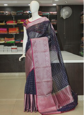 Blue Cotton Silk Saree in Rich Silver Zari Borders