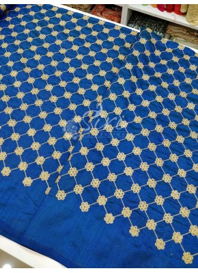 Blue Double Shaded Rawsilk Fabric with Cross Checks Gold Embroidery