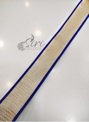 Blue Dull Antique Gold Fancy Lace Border