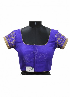 Blue Dupion Silk Stitched Blouse in Heavy Stone and Beads Work