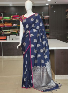 Blue Fancy Banarasi Silk Saree in Silver Zari