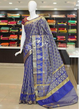 Blue Fancy Cotton Silk Saree