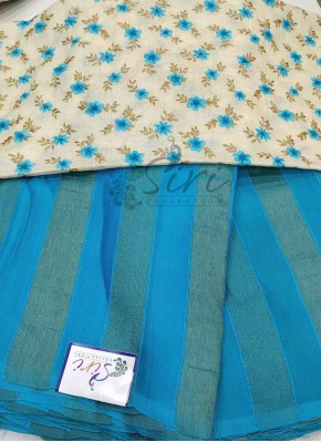 Blue Georgette Saree in Self Soft Jute Stripes with Designer Blouse