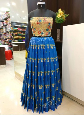 Blue Gold Banarasi Silk Lehenga Crop Top Fabric Set in Flowerpot Design