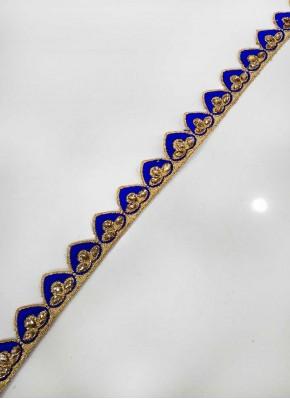 Blue Gold Fancy Cut Work Border Lace in Stones