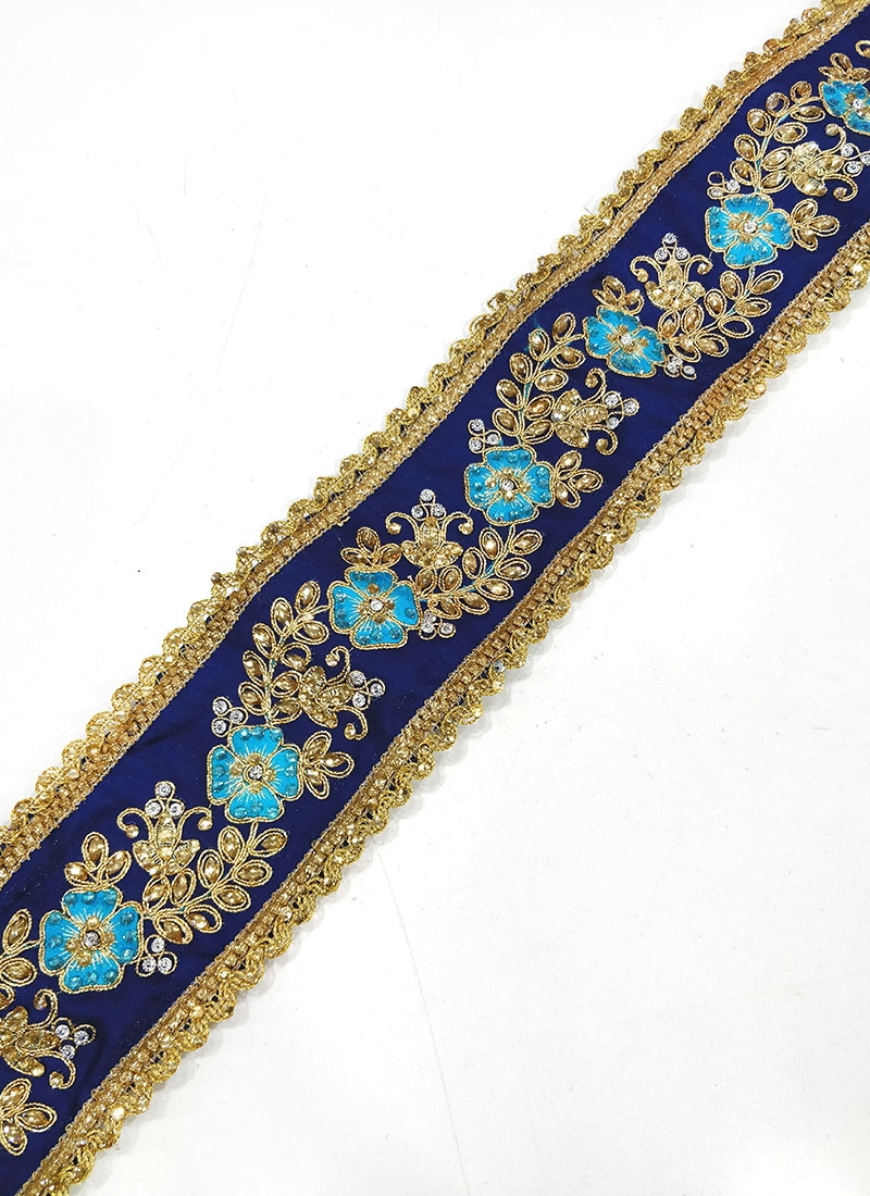 Blue Gold Lace Trim Border In Cording Embroidery And Stone Work
