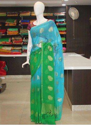 Blue Green Banarasi Georgette Saree in Peacock Butis