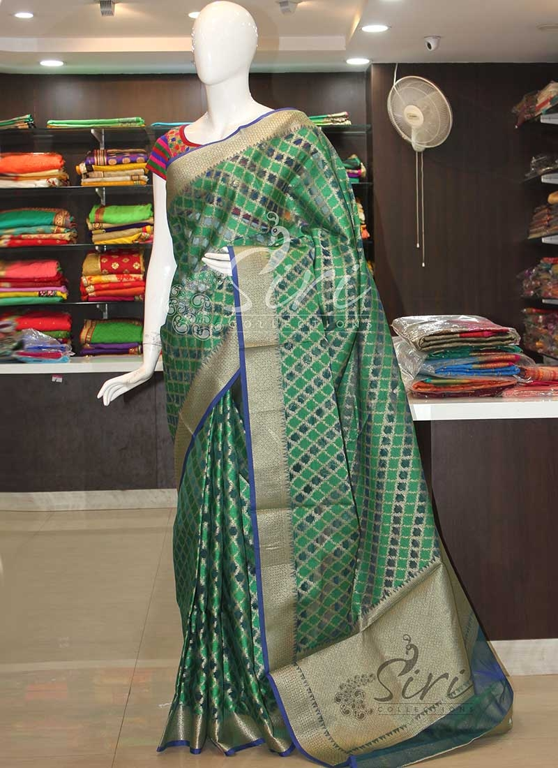 Blue Green Banarasi Kora Saree in Allover Self Design