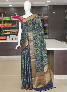 Blue Green Fancy Banarasi Cotton Silk Saree in Allover Design