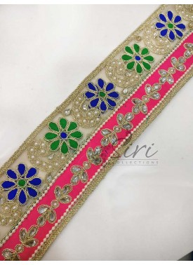 Blue Green Flowers Cording Work Border Lace in pearls and stones