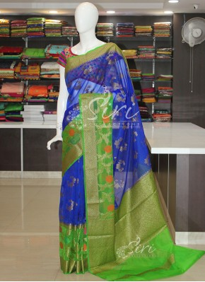 Blue Green Organza Saree in Meena and Zari Weave