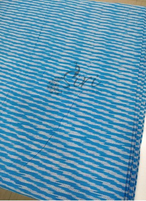 Blue Ikat Cotton Fabric Per Meter
