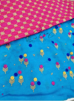 Blue Jute Georgette Saree in Embroidery Work Butis