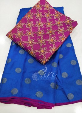 Blue Jute Silk Saree in Self Polka Dots Weave