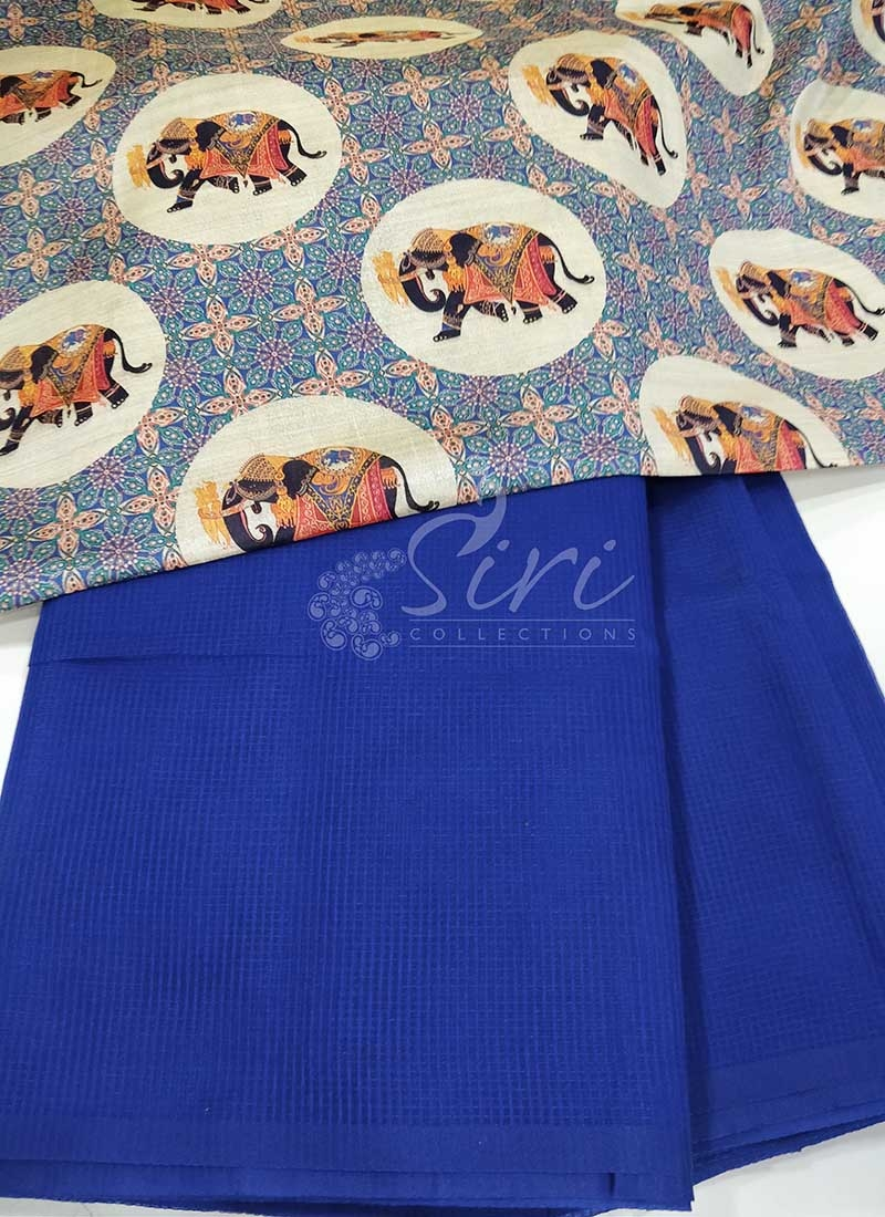Blue Manipuri Silk Saree in Self Checks with Digital Print Blouse