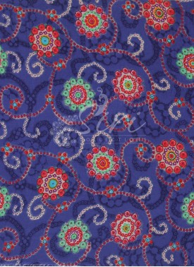 Blue Multi Colour Printed Rayon Fabric By Meter